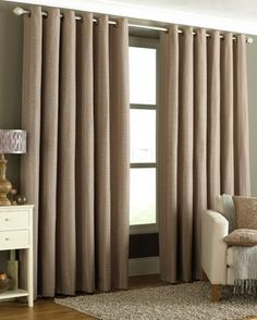 For the living room - Tobago Ready Made Eyelet Curtains In Mocha From £47.99