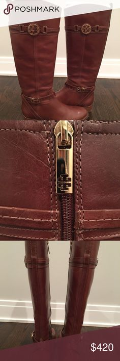 Tory Burch Riding Boots Brown leather riding boots with gold details. Very gently worn. Comes with Tory Burch box. Tory Burch Shoes Heeled Boots