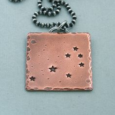Seven Sisters Constellation Necklace - The Pleiades - Hand Stamped Copper and Sterling Silver. $43.00, via Etsy.