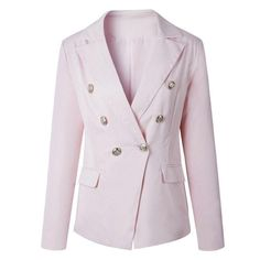 3 Colors Notched Lapel Office Ladies Blazer Women Long Sleeve Double Breasted Pockets Front Simple Fall Spring Coat