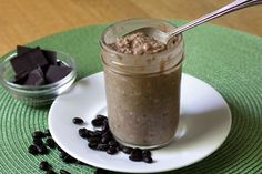 Mocha Refrigerator Oatmeal. High protein. Low fat:1/3 cup uncooked old fashioned rolled oats  1/3 cup skim milk  1/4 cup low-fat Greek yogurt  1-1/2 teaspoons dried chia seeds  2 teaspoons honey, optional (or substitute any preferred sweetener)  1 teaspoon cocoa powder  ½ teaspoon instant espresso powder dissolved in 1 tablespoon hot water