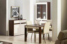 TRE SZYNAKA Dining room furniture set. Modern collection of furniture in a warm colour of cherry malaga / beige gloss. Polish Szynaka Modern Furniture Store in London, United Kingdom #furniture #polish #szynaka #diningroom
