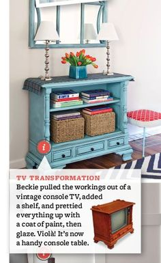 I love repurposed stuff!  I even have one of these old TV consuls in my storage that was just waiting for me to get inspired! Officially inspired! ;)