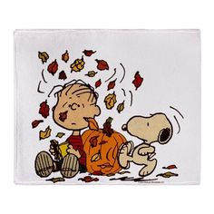 Fall Peanuts Throw Blanket
