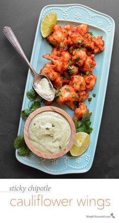 Sticky Chipotle Cauliflower Wings - Instead of fighting your junk food cravings, pull a fast one on them with this sticky, sweet, spicy, and surprisingly healthy Tex-Mex appetizer.