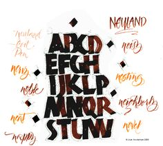 calligraphy neuland how to Creative Lettering, Cool Lettering, Lettering Styles, Hand Lettering, Japanese Typography, Typography Poster, Graphic Design Typography, Calligraphy Alphabet, Calligraphy Fonts