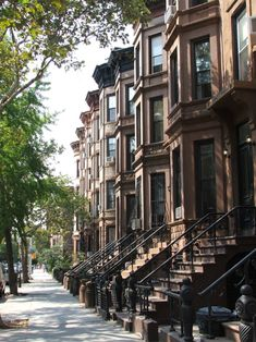 looks like the street i grew up on ! Who doesn't love a New York brownstone? #NYC #citylife