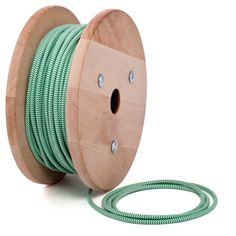 Green- white textile cable by Cablelovers