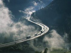 Brenner Pass, a mountain pass through the Alps along the border between Italy and Austria