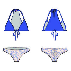 "PDF INSTANT DOWNLOAD BIKINI SEWING PATTERN ""STELLA"" Misses' bikini top: Slide triangle top ties at neck and front.  Back panel and removable swim cups. Fully lined.  Low-rise, low back coverage cheeky bikini has back ruching.  Fully lined."