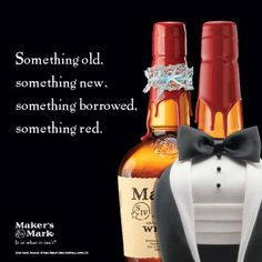 Who needs something blue, when you can have something red? #wedding #bourbon Something Borrowed, Something New, Bourbon Whiskey, Fine Wine, Makers Mark, Craft Beer, The Borrowers, Wedding Day, Red Wedding