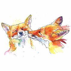 Laura Slade art Watercolor Animals, Watercolor Print, Watercolor Paintings, Fox Watercolour, Art And Illustration, Illustrations, Art Fox, Fox Drawing, Ouvrages D'art
