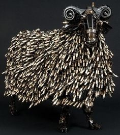 Ram made from old spark plugs by Australian artist James Corbett.