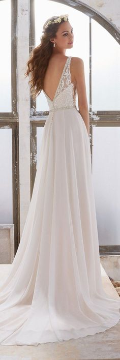 2017 Designer Wedding Dresses and Bridal Gowns by Morilee. This Sheath Bridal Gown has an Embroidered Bodice with Illusion Side Insets and Crystal Beaded Trim. Spring 2017 Wedding Dresses, Lace Wedding Dress, Bridal Wedding Dresses, Dream Wedding Dresses, Designer Wedding Dresses, Bridesmaid Dresses, 2017 Bridal, Modest Wedding, Dresses Dresses