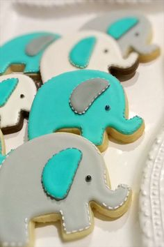 Baby elephant cookies. Adorable for a 1st birthday party!