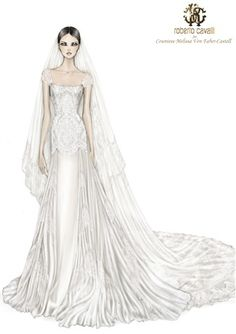 Wedding Dress Design Illustration by Roberto Cavalli. We teach students how to illustrate their fashion designs like this! We have a short ebook course if your interested in learning how to draw your fashion designs quickly and easily.. more details here on our website: www.fashion-design-course.com