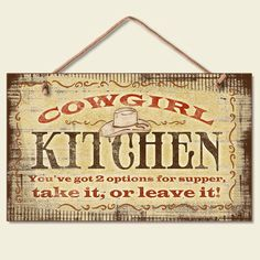 Cowgirl Kitchen Sign