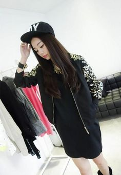 Black Floral Print Sleeves Modern Style Jacket with Zipper 1
