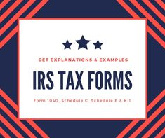 IRS Tax Forms | Form 1040, Schedule C, Schedule E and K-1 For Business
