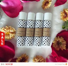 Sale -  Stocking Stuffer, Lip Balm Gift Pouch, Gift Ideas, Christmas Gift, Gift Set, Coconut Lavender, Ginger Lemon, Vanilla Rose, Green Tea - pinned by pin4etsy.com