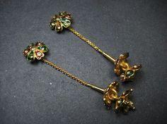 E2768 Gold tone tribal banjara bridal Meenakari HANDMADE FASHION Earrings Indian nepalagora #Handmade