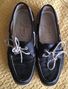 Women Sperry Top-Sider Blue Leather Two Eye Boat Shoe 9.5M  | eBay