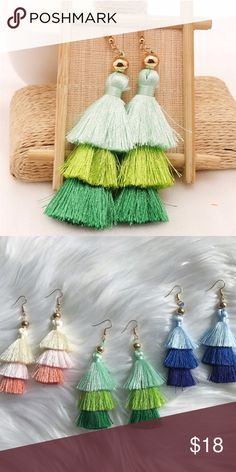 Green Cotton Fringe Tassel Earrings Featuring stunning details, these earrings will take any look from simple to striking! Materials: Zinc Alloy Hooks & Cotton Fringes. 3.5 inches in length.FAST SHIPPER❣️AMBASSADOR❣️ atelier sona Jewelry Earrings
