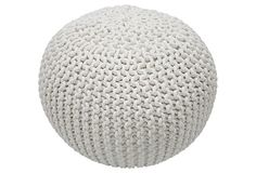 <3 White knitted pouf