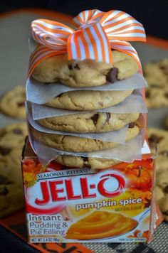 Pumpkin Spice Chocolate Chip Pudding Cookies. These cookies are AMAZING -- with just the right subtle hint of pumpkin spice.