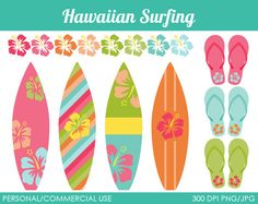 Hawaiian Surfing Clipart - Digital Clip Art Graphics for Personal or Commercial Use