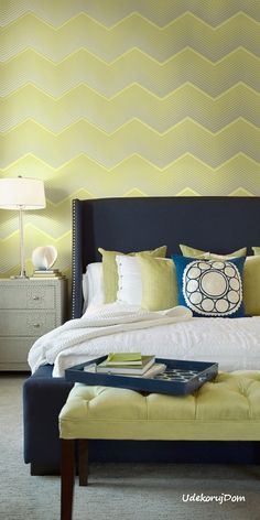 The Indigo collection by Seabrook Wallcoverings - a transitional mix of geometric, floral, and ogee patterns that add a touch of sophistication to any decor. Modern Wallpaper Designs, Contemporary Wallpaper, Designer Wallpaper, Chevron Wallpaper, Of Wallpaper, Wallpapering Tips, Wall Design, House Design, Bedroom Photos