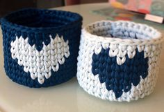 A personal favourite from my Etsy shop https://www.etsy.com/listing/489993444/set-of-2-baskets-with-heart-blue-crochet