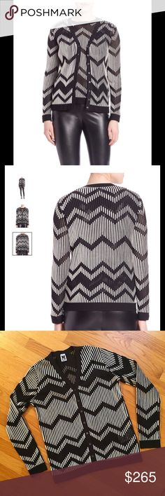 MISSONI Black & White Sweater Missoni sweater in the classic zig-zag design.  Black and white just pops! V-neck, button front, long sleeves.  First 2 pics are stock and last 2 pics are of my sweater.  Italian size 42 is a US Medium (6-8). From Saks Fifth Avenue.  In mint condition. Missoni Sweaters Cardigans