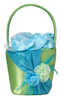 Pretty #green and #blue #flower girl basket