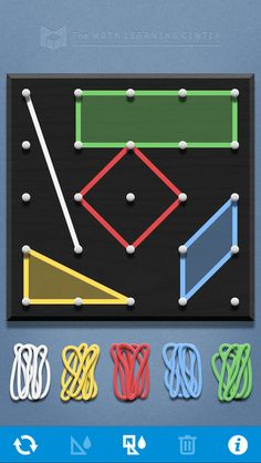 Geoboard,($0.00) a tool for exploring a variety of mathematical topics introduced in the elementary and middle grades. Learners stretch bands around the pegs to form line segments and polygons and make discoveries about perimeter, area, angles, congruence, fractions, and more. This virtual version of the manipulative is an open