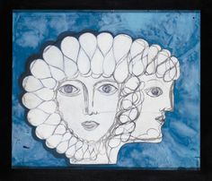 'Gianno Bifronte': A painted perspex panel of two faces by Gio Ponti, 1970s acrylic and gouache on perspex, framed signed 'G.P.' to the front and 'Gio Ponti' to the reverse 60cm. high by 70cm. wide (approx.)