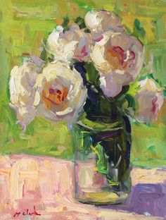 """Daily Paintworks - """"June Peonies """" - Original Fine Art for Sale - © Michael Clark Large Floral Wallpaper, Floral Artwork, Floral Paintings, Rose Paintings, Acrylic Paintings, Landscape Paintings, Abstract Flowers, Watercolor Flowers, Flower Painting Canvas"""