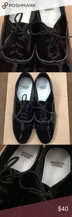 American Apparel Patent Leather Dance / Tap Shoes Wingtip / Oxford shoes. Worn a few times indoors, but these are still in great condition! Patent (faux) leather, so they're shiny and sure to be eye-catching! A few scuffs near the heels, as seen in photos! Looks great with frilly or sheer socks! 🖤 American Apparel Shoes Flats & Loafers