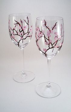 Light pink cherry blossoms - hand painted wine glasses - set of 2 Made to Order. $36.00, via Etsy.