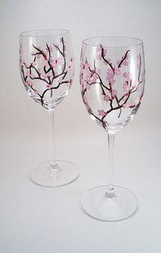 Cherry blossom wine glasses light pink - set of 2
