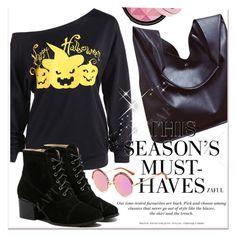 """3.Asymmetric Neckline Happy Halloween Sweatshirt"" by allanaaa11 ❤ liked on Polyvore featuring H&M"