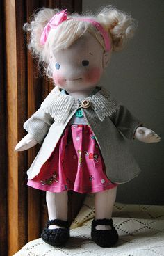 Elin-Handmade vintage inspired doll made with all natural materials