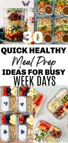 30 Healthy Meal Prep Recipes 30 Easy healthy meal prep recipes for the week when you're trying to lose weight. Includes healthy recipes for breakfast, lunch, and dinner; meal prep for the week makes it easier to stick to a clean eating health plan.<br> Quick and easy healthy meal prep ideas for weight loss takes the guess work out of what to eat for breakfast, lunch, and dinner, especially on busy weekdays Quick Easy Healthy Meals, Easy Healthy Lunch Ideas, Weekly Meal Prep Healthy, Quick Healthy Breakfast, Healthy Recipes For Weight Loss, Healthy Workout Meals, Food For Lunch, Healthy Meal Prep Lunches, Meal Prep For Breakfast