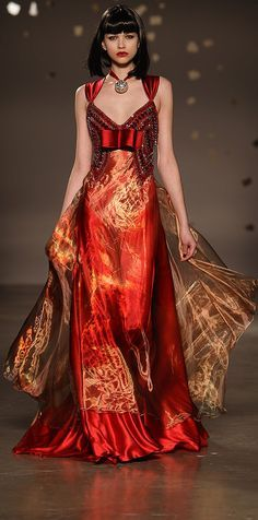 Oriental inspired Fire Gown