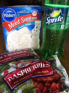 This is a must try because all you really have to lose is a can of cake mix, sprite, and 5 minutes prep time.  You need:b  1 package white cake mix  8 oz. sprite  2 // 16 oz. bags of frozen fruit of your choice. (I used blackberries and raspberries.)  You do:  Layer frozen fruit on the bottom of a 9×13 pan. Sprinkle cake mix on top until covered. Pour sprite over cake mix.  Put in oven for 45-50 minutes at 350 degrees. Let cool 15-20 minutes after… serve with vanilla ice cream!