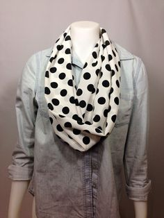 Black and White Scarf-Spring Infinity Scarf on Etsy, $15.00 CAD