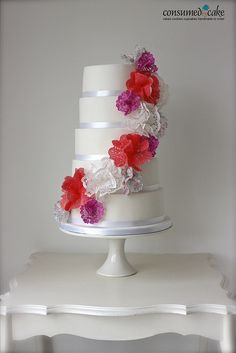 Doily flower wedding cake.