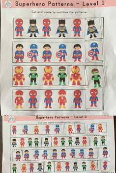 3 Levels available, all come in Superhero Printable Package on TPT! Superhero Preschool, Printable Worksheets, Printables, Cut And Paste, Learning Centers, Patterns, Holiday Decor, Block Prints, Print Templates