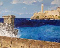 "Oil painting titled ""El Morro Fortress - La Habana, Cuba"", done on a 16"" x 20"" x 1.5"" canvas. SOLD"