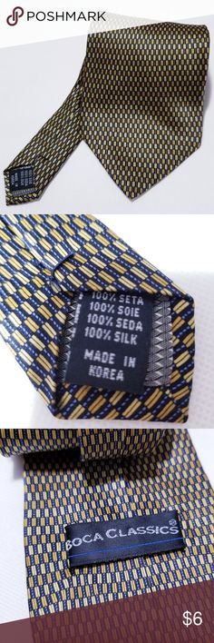 """BOCA CLASSICS Gold Tile Geometric Men's Neck Tie BOCA CLASSICS Gold Tile Geometric Men's Neck Tie 57"""" X 4""""  Length Approx 57"""", Width 4""""  excellent condition  smoke free and pet free home  100% polyester Boca Classics Accessories Ties"""